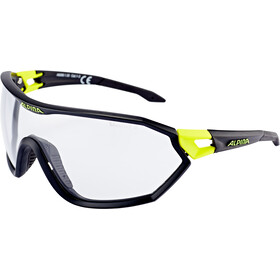 Alpina S-Way VL+ Gafas, black matt-neon yellow